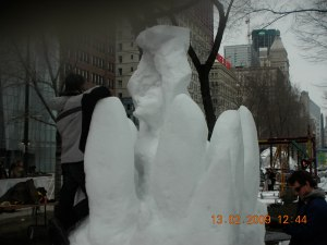 Snow Sculpture (a work in progress) on the banks of Lake Michigan