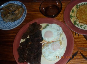 Tapa, Fried Eggs, Suka (Spicy Vinegar as Tapa Dip), and of course, Pancakes!!!