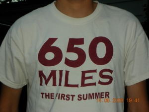 Kramer's T-shirt (He runs cross-country at Harvey Mudd)