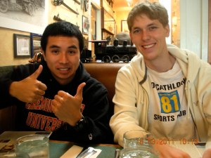 Son and his best friend, Kramer. Kramer's doing a PhD in UC Davis; he used to be in Harvey Mudd.