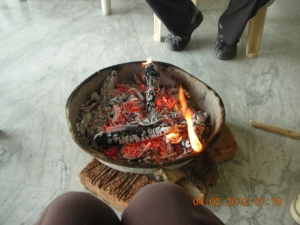 It was so cold, self's last two days in Bir, that the Colonel had a fire brought in.