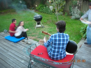 Fun times with Andrew, Jennie and Finissey in the backyard, last year