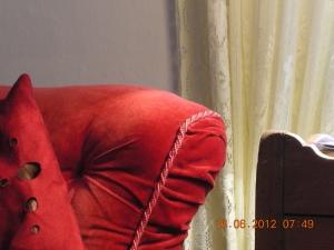 Armchair in self's room in Hawthornden, June 2012