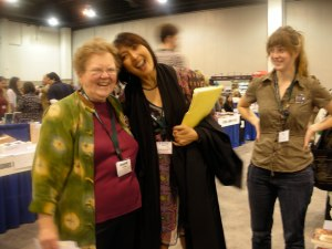 Margarita Donnelly of Calyx at AWP Denver with M. Evelina Galang, and Becky, Calyx's new Senior Editor.  Evelina's in the anthology with an excerpt from her novel, ONE TRIBE.