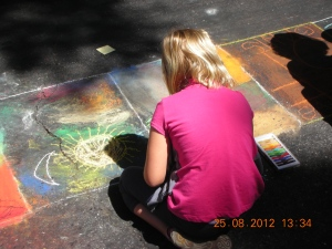 Chalk Drawing is a big part of the Palo Alto Arts & Crafts Festival, held every August.