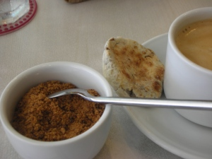 Brewed Coffee at Café Uma is always served with muscovado and a petite piyaya!
