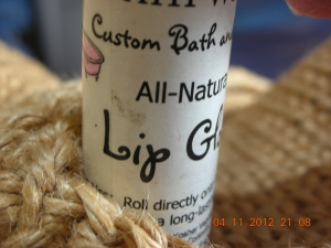 All-Natural Custom Lip Gloss from The Bath Workshop, Claremont, California (In two of self's favorite flavors:  Kahlua and Chocolate)