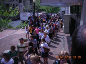 Washington, DC:  on the anniversary of Pres. Abraham Lincoln's assassination.  Will you just look at that line waiting to get into the Ford Theater ???