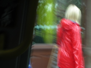 Raincoat, Edinburgh, June 2012:  Self was spending the month at the Hawthornden Writers Retreat.