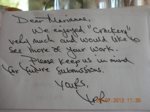 Her First Personal Rejection From the Paris Review -- Put Self on Cloud 9!