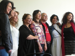 Anita Amirrezvani (the tall woman in the center), with the contributors to the Iranian American anthology, TREMORS, at Kepler's Books Sunday, Apr. 14, 2013