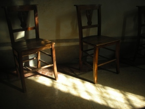 Chairs -- Yes, Chairs!  --  in a side chapel of the Eremitani Church
