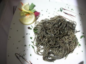 Here's the dish both self's new friends ordered:  pasta in squid ink!  The girls said it was delicious!