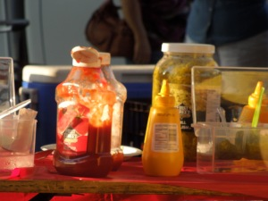 Condiments at the Optimist Club's Hot Dog and Hamburger Stand