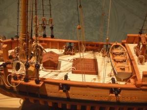 Close-up of a Charles Parsons ship model: on view at the San Mateo County History Museum, Courthouse Square, Redwood City