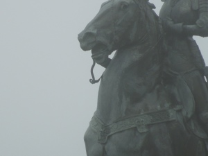 Statue in front of the Legion of Honor, on a Very Very Foggy Day in June