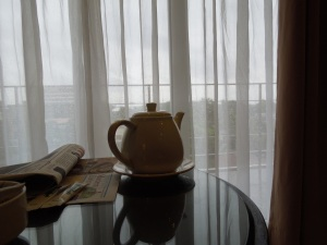 Coffee Pot, L'Fisher Chalet, Bacolod.  There was a typhoon signal alert outside.