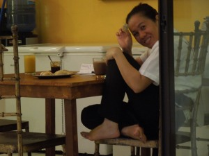 Self loves that Weng is so playful.  She and her sister, Gemma, run the Negros Museum Café, one of self's favorite Bacolod hangouts.