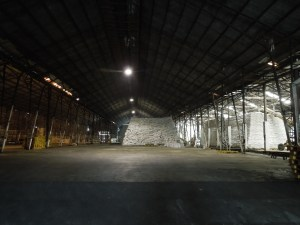 The processed sugar is packed into bags which are sewn shut and then stored in this cavernous warehouse.  Amazingly, there is not an ant problem.