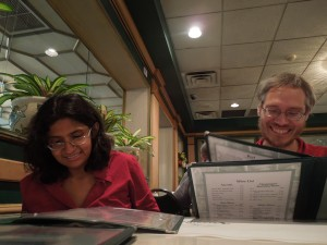 Nandini Dhar was a student in self's Essential Beginnings class in the UCLA Extension Writers Program. When she found out (from Facebook!) that self was traveling to Miami, she arranged to meet.  She and her partner Dennis moved to Miami from Texas, just two months ago!
