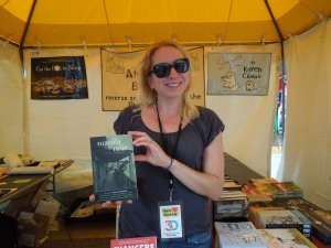 Johanna Ingalls, Managing Editor of Akashic Books.  She's holding up MANILA NOIR: Self is one of the contributors.