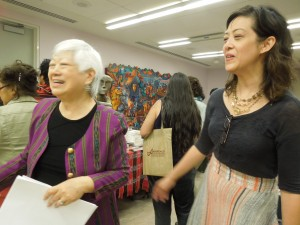 Linda Nietes, owner of Philippine Expressions, the quintessential bookstore, with Angela Narciso Torres, whose collection, BLOOD ORANGE, was this year's winner of the Willow Book Prize