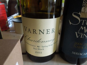 Bob and Diane Varner have been friends of Self and The Man for decades.  This Chardonnay (2011) is hard to find, but self snagged a bottle yesterday at K&L Liquors in Redwood City
