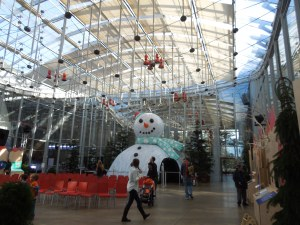 This gigantic snow man was in the auditorium of the California Academy of Sciences, in Golden Gate Park