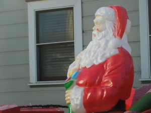 Jolly Old St. Nick in Someone's Front Yard in Half Moon Bay