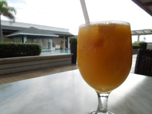 Life is good, especially when one starts the day with a free breakfast and fresh mango juice:  Self took this picture in her beloved Bacolod.