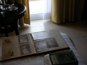 Hotel Room, Bacolod: Cousin loaned me old photo albums because self was looking for pictures of her Dear Departed Dad as a young man.