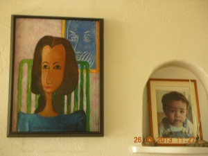 Home:  Redwood City. The painting was something I did for Art Class in Assumption.  The photo is one I took of son when he was 1 year old.