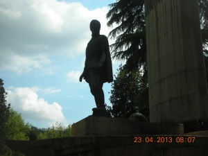 Statue of Antonio de Pigafetta, chronicler of Magellan's voyage around the world, only one of 33 survivors.  The statue is in Vicenza, Pigafetta's hometown.