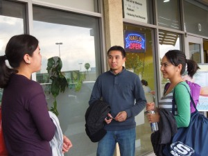 Niece, Llana, chatting with Andrew and Jennie after the yoga workshop at Yoganette, West Covina.