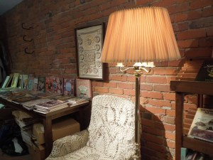 In the bookstore loft, self found a very cozy reading nook.
