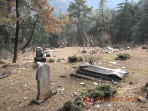 The English Cemetery, Just Outside Dharamsala.  The graves are mostly those of soldiers who lost their lives in battles and skirmishes and quelling uprisings.