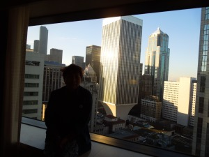 Self in Silhouette: the view from her room in the Seattle Sheraton, last month during the AWP conference.