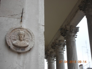 The Wall of a Church Near the Rialto:  Self doesn't even know what church; but every square or campo in Venice has one.