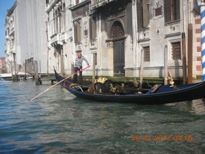 This is what the usual picture of Venice looks like:  Grand Canal and gondoliers.