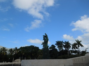 Miami Holocaust Memorial, South Beach. The giant hand pointing at the sky is only the first thing you see as you approach.