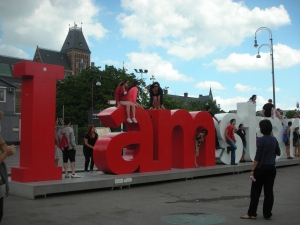 I amsterdam letters in -- Where else? A public square in front of the Rijksmuseum.