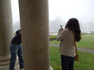 Andrew and Jennie, at the Palace of the Legion of Honor.  June 2013.  Typical San Francisco summer weather:  They could be in Ireland.