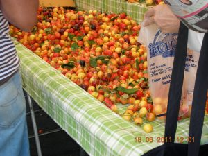 The local farmers markets start up in the spring:  Redwood City's had just started up again, two weeks before she left for Ireland.