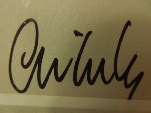 The signature of Dale Chihuly, Renowned Glass Sculptor, was on every print in self's Seattle hotel room:  February 2014