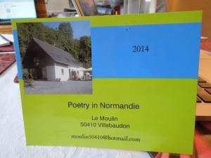 Joan is teaching a poetry workshop July 11-15  in Normandy