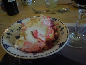 Self had to ask the name of this dessert, which followed dinner one night:  It's a Pavlova.