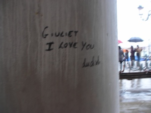 Love endures:  Graffiti scrawled on a pillar on the portico next to the Doge's Palace, April 2013
