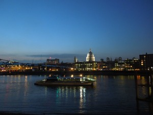 The view behind the Globe Theatre in London: She stumbled across it only during the intermission for TITUS ANDRONICUS, late April.