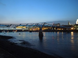 The Pedestrian Walkway Spanning the Thames Just Behind the Globe Theatre in London's South End