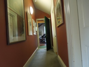 The Tyrone Guthrie Centre at Annaghmakerrig:  the hallway leading to the music studio on the top floor of the main house